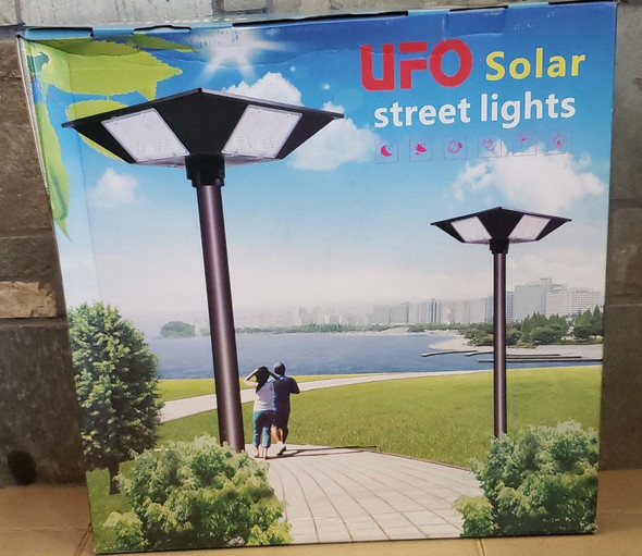 SOLAR LIGHT 300W UFO LED WITHOUT POLE STREET 4-WAY BUILT-IN PANEL