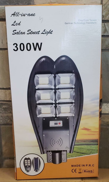 SOLAR LIGHT 300W LED STREET WITH PANEL ALL-IN-ONE WITH POLE & REMOTE