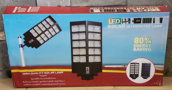 SOLAR LIGHT 300W LED STREET WITH PANEL INTEGRATED LAMP WITH POLE & REMOTE