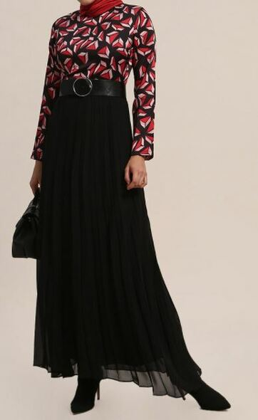 Dress lined Black pleated red/pink print