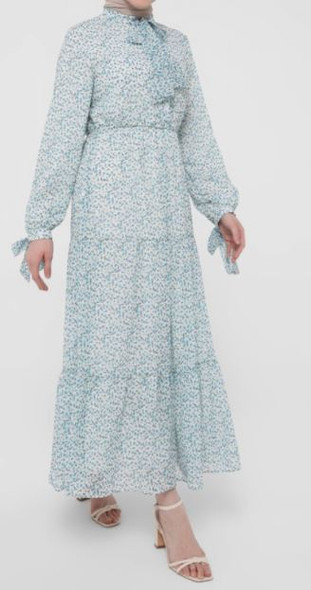Dress Lined Floral Blue tie detail on sleeve