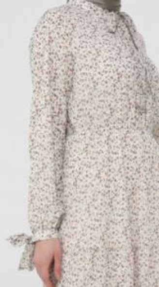 Dress Lined Floral Taupe tie detail on sleeve
