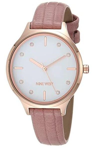 Watch Nine West Women's Crystal Accented Patterned Strap Blush 2556RGPK