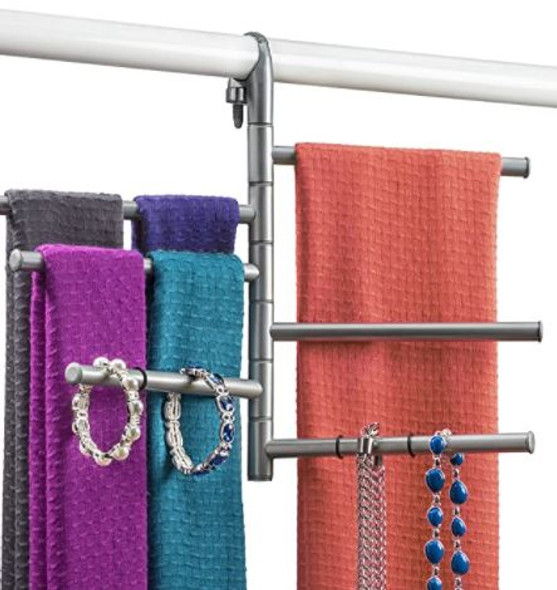 Scarf Rack LYNK Accessory Closet Hanger Organizer Pivoting Platinum