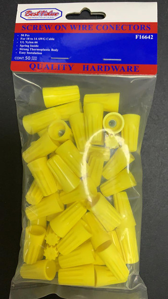 WIRE CONNECTOR SCREW ON YELLOW P4 BEST VALUE F16642 50PCS PER PACK