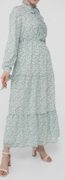 Dress Lined Floral white & Green with tie