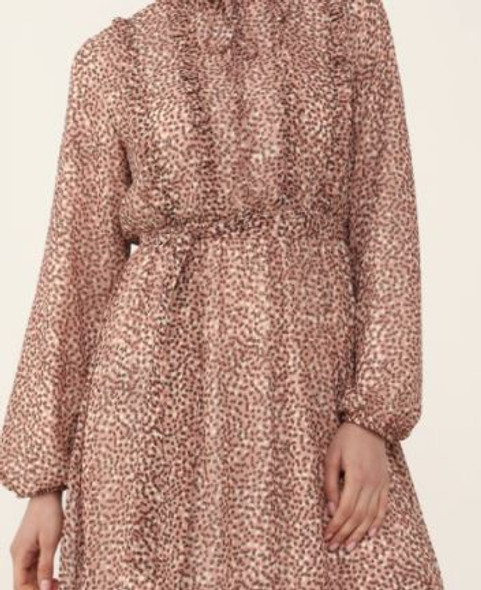 Dress Lined Pink with brown & white dots