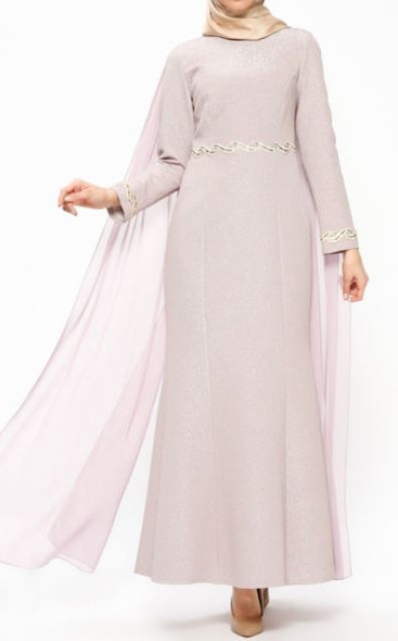 Dress Evening Lined Lilac/Blush Shimmer