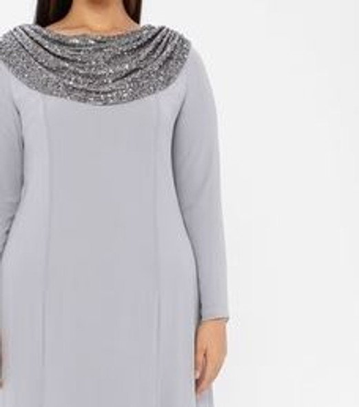 Dress Evening Lined Grey/silver Plus Size