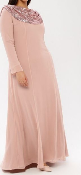 Dress Evening Lined Pink Plus Size