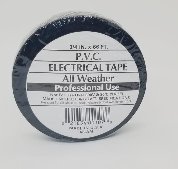 """INSULATION TAPE PVC ALL WEATHER BLACK 3/4"""" 66FT"""