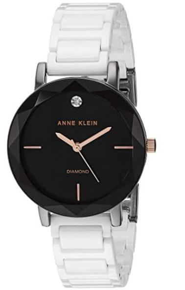 Watch Anne Klein Women's AK Diamond-Accented Ceramic Bracelet 3365GYWT