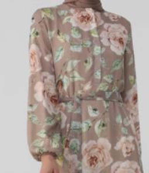 Dress Floral Taupe with pink, green leaves