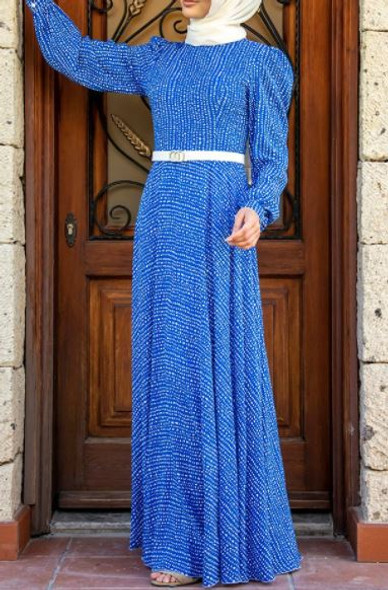 Dress Lined Polka dot Royal blue with white belt 38