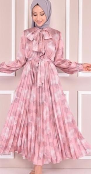 Dress Pleated Satin Blush Pink