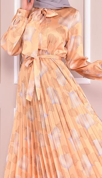 Dress Pleated Satin Pale Yellow