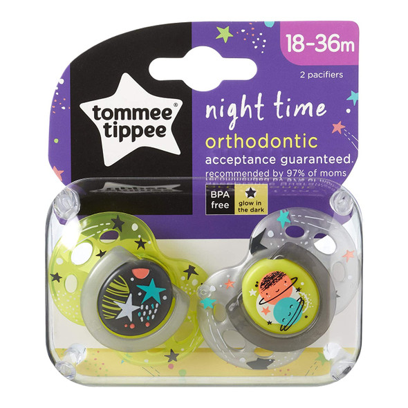 Baby Pacifier Tommee Tippee Closer to Nature Night Time Toddler Soothie 18-36 Months - 2 Count Colors May Vary