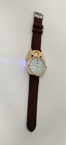 Watch Fashion Generic Men Cadio Gold & Brown With Lighter