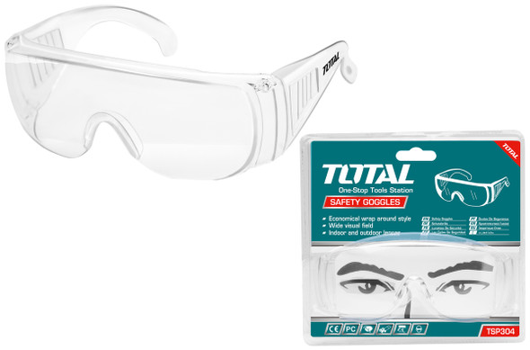 SAFETY GOGGLES CLEAR GLASS TOTAL TSP304