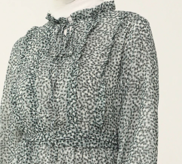 Dress Lined Green polka dots