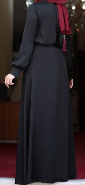 Dress Evening Lined Black Huma