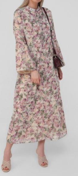 Dress Lined chiffon Floral Plus size covered button