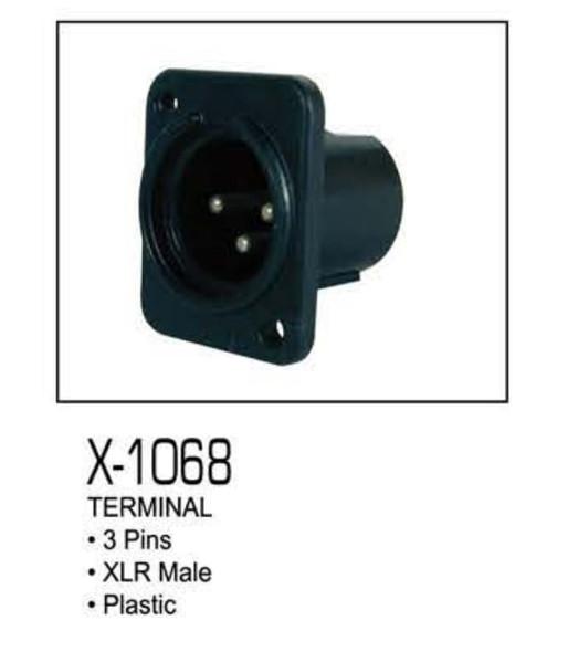 PLUG CHASS XLR MALE 3-PIN X-1068 ZEBRA PLASTIC
