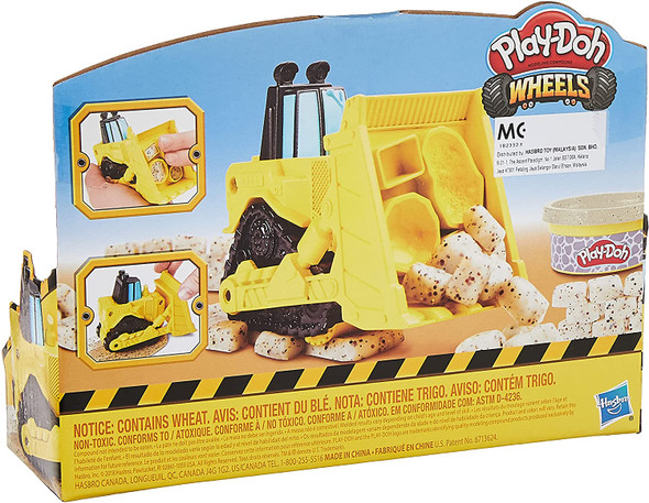 Toy Play-Doh Wheels Mini Bulldozer with 1 Can of Non-Toxic Stone Colored Buildin' Compound
