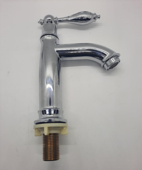 """PILLAR TAP 1/2"""" TALL LEVER ROUND NICKLE/GREEN"""