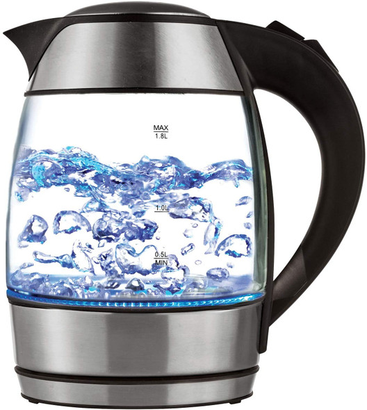 KETTLE BRENTWOOD KT-1960BK 1.8L CORDLESS GLASS ELECTRIC WITH TEA INFUSER