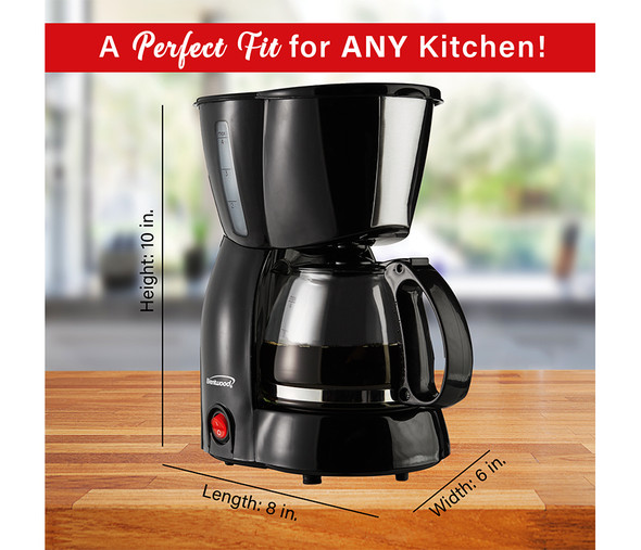 COFFEE MAKER BRENTWOOD TS-213 4CUP BLACK 110V