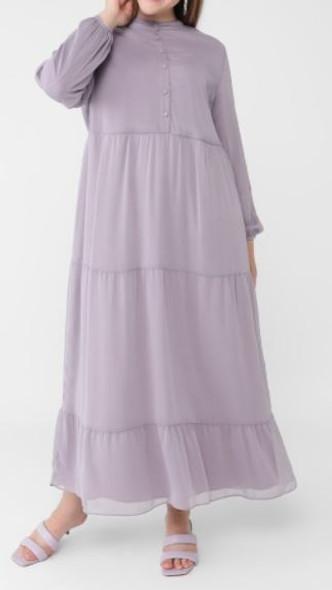 Dress Lined Chiffon Lilac plus size