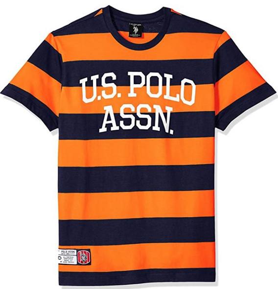 Men T-shirt US Polo Stripe round neck Orange