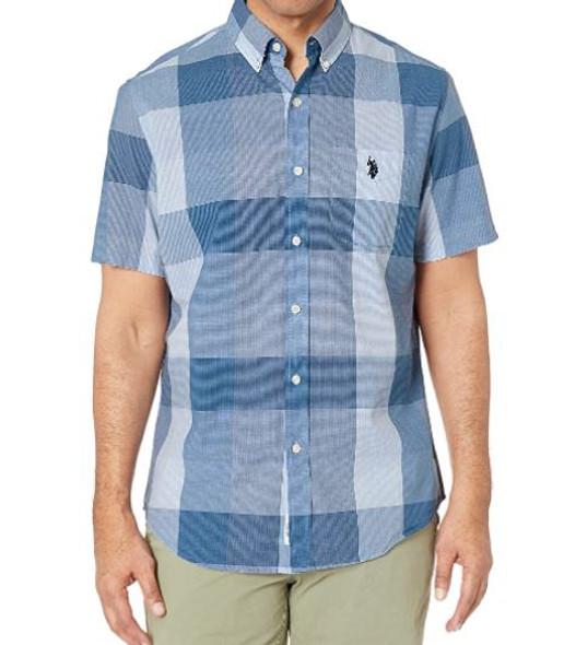 Men Shirt Short Sleeve Button Down US Polo Plaid Navy