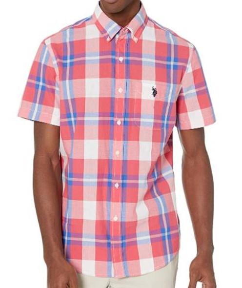 Men Shirt Short Sleeve Button Down US Polo Plaid Pink