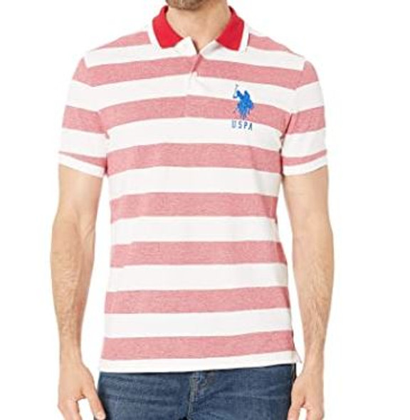 Men Shirt Polo US Polo Red Stripe Slim Fit