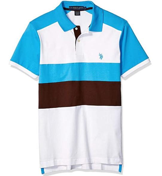 Men Shirt Polo Us Polo Ocean Stripe Slim Fit