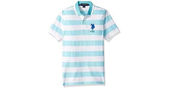 Men Shirt Polo Us Polo Aqua Stripe Slim Fit