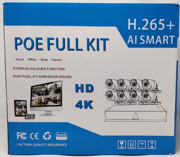SECURITY CAMERA KIT 8-PORT NVR POE-4804A-200BQ POE FULL KIT H.265+ AI SMART