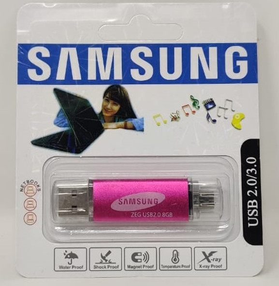 COMPUTER FLASH DRIVE 8GB ZEG USB 2.0/3.0 USB & MICRO USB PORTS