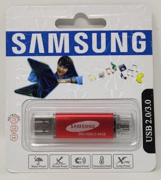 COMPUTER FLASH DRIVE 64GB ZEG USB 2.0/3.0 USB & MICRO USB PORTS