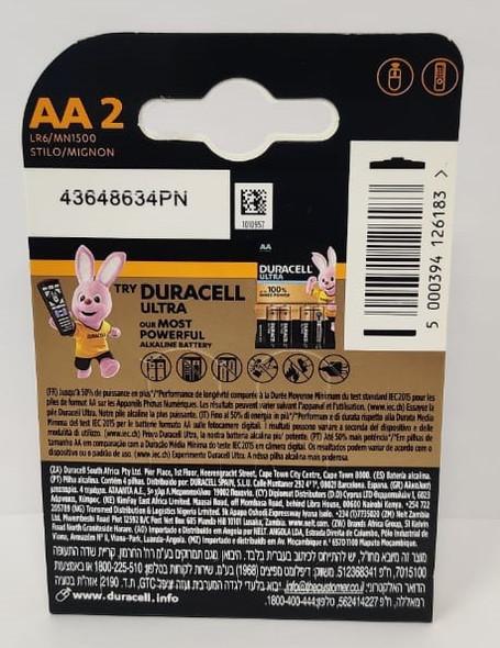 BATTERY DURACELL SIZE AA PLUS ALKALINE 2PCS PACK LR6/MN1500