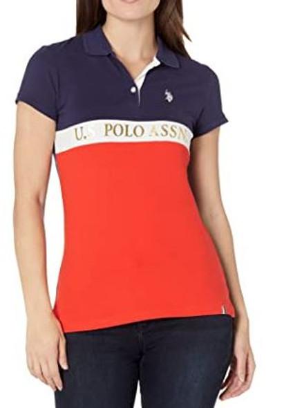 Women Shirt Polo US Polo Color Block Foil print