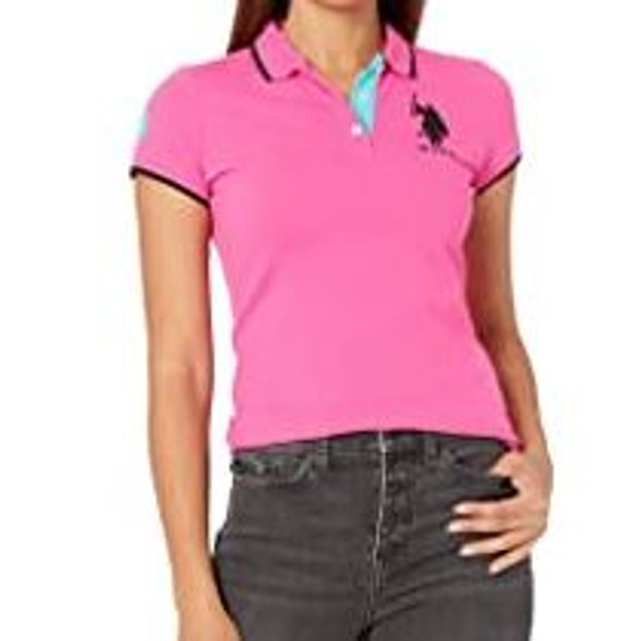 Women Shirt Polo US Polo Pink w/navy trim, logo