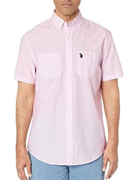 Men Shirt Short Sleeve Button Down US Polo Two Pocket Mist