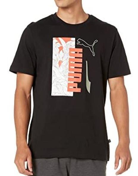 Men T-shirt Puma Black Orange & white print