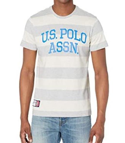 Men T-shirt US Polo Stripe round neck grey