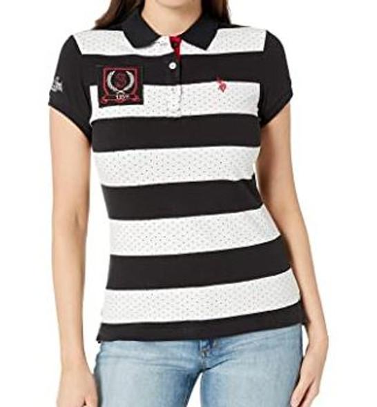 Women Shirt Polo US Polo Stripe & dots Black, white
