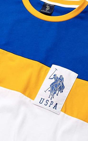 Men T-shirt US Polo Stripe Round Neck blue, white & yellow