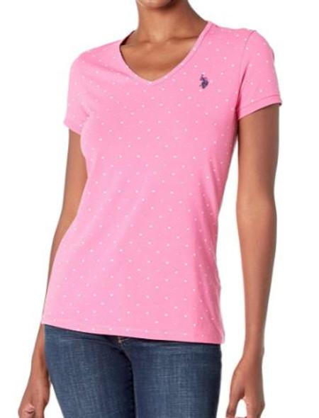 Women T-shirt V-neck Pink dots